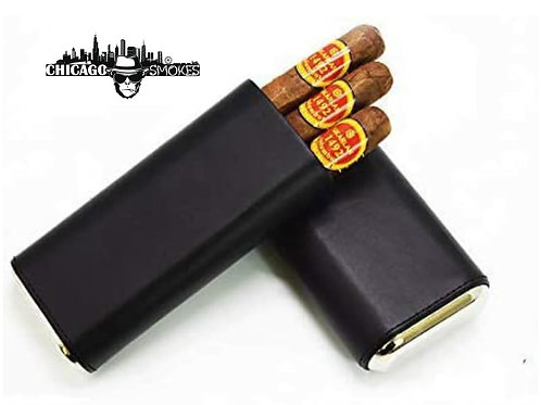 Chicago Smokes 3 Cigar Case Black Leather Cigar Case with Interior Cedar Lining