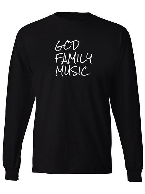 GOD FAMILY MUSIC Long Sleeve Black Tee