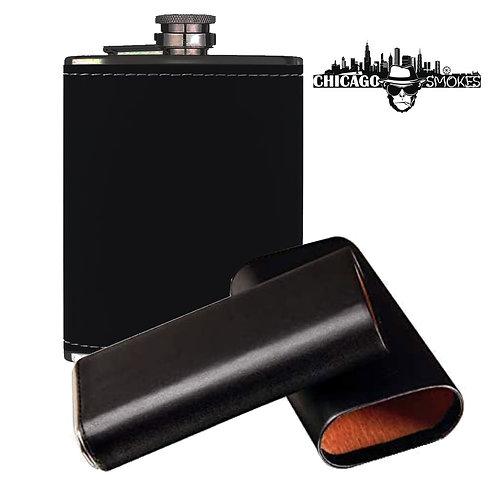 Chicago Smokes Black Leather Humidor/Flask Travel Set