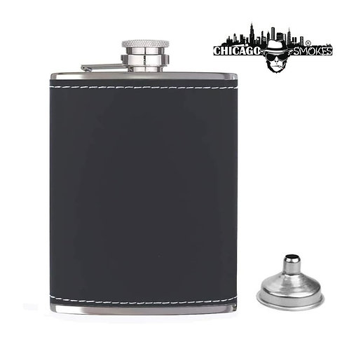 Chicago Smokes Black Leather Flask