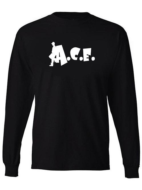 A.C.E. Long Sleeve Black Tee