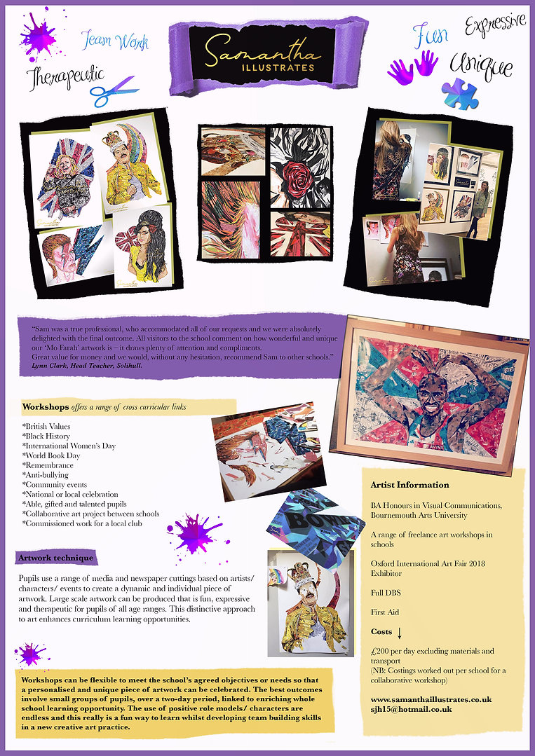 Art Workshops for shools, create portraits of iconic influences with a range of collage materials