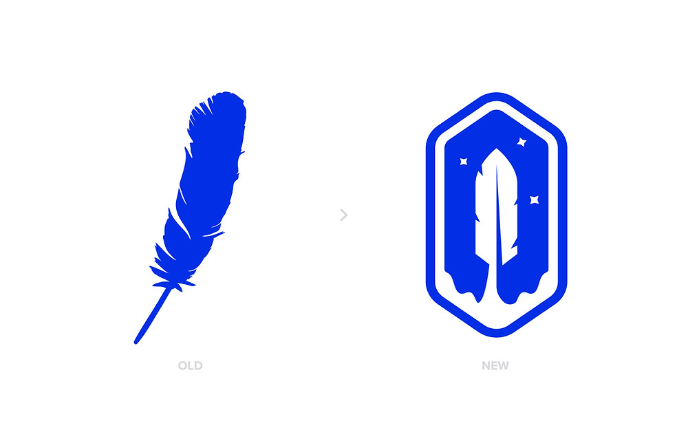blue origin feather logo redesign