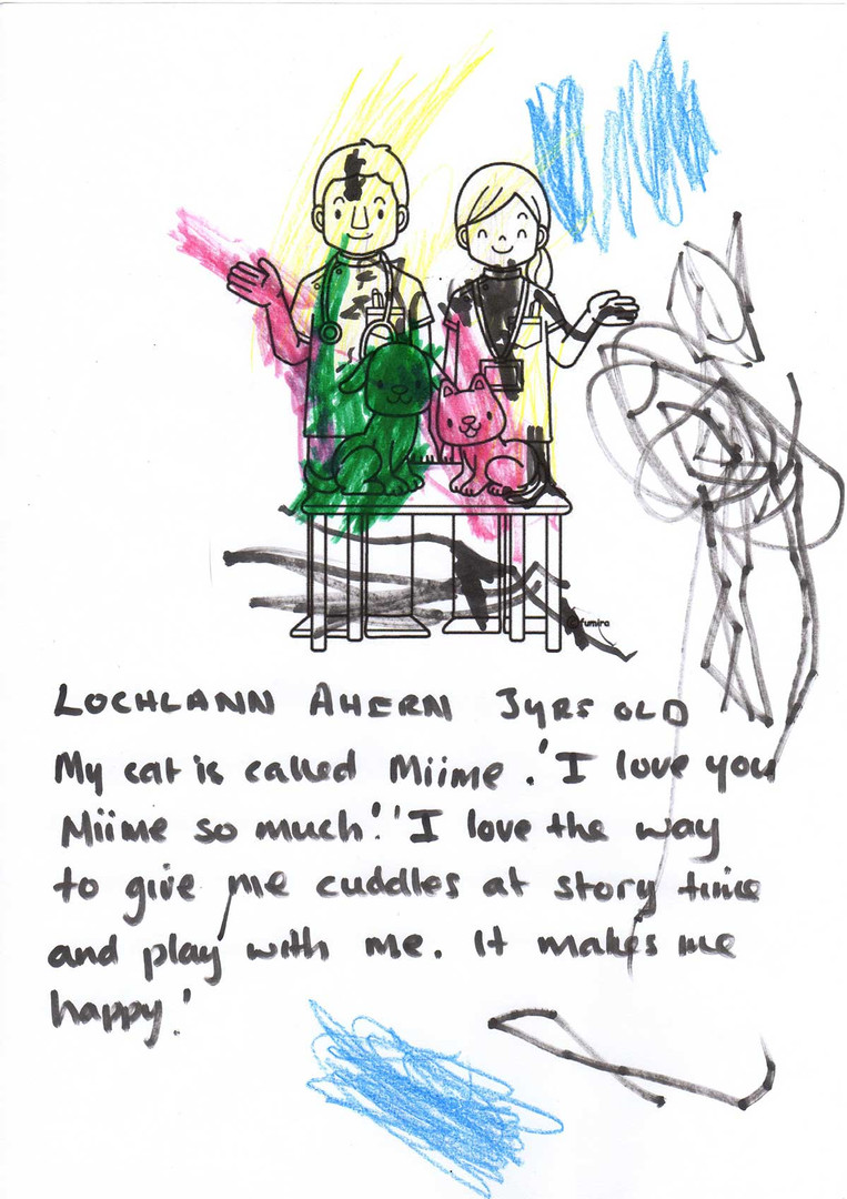Lochlann Ahern aged 3 and his picture of his cat Miime