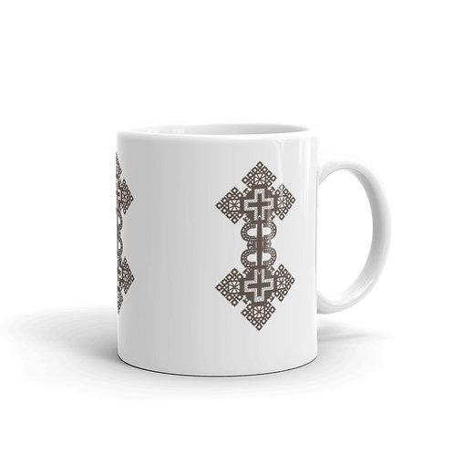 Ethiopian Cross White Glossy Mug