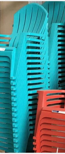 Outdoor plastic Adirondack chairs at Home Depot