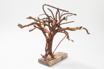 Tree IV (2008); Metal Sheets, Wood; 26x40x27.jpg