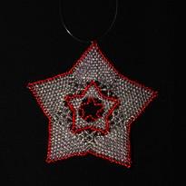 Star Full Outline Silver Red