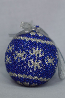 Blue & Silver Snowflake with Flower