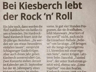 Band wird 20 Jahre - Bei KIESBERCH lebt der Rock'n'Roll [Bergischer Anzeiger]