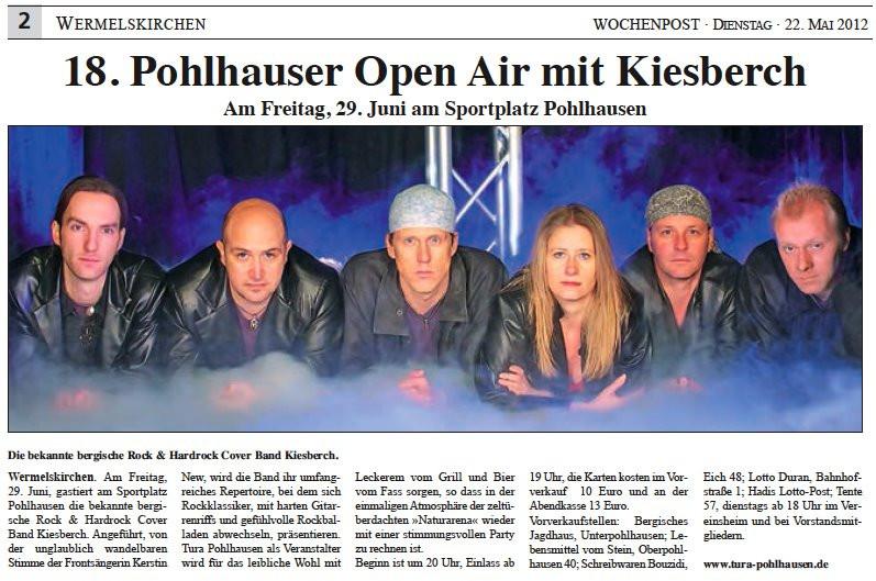 Ankündigung 18. Pohlhausener Open Air mit KIESBERCH, Wochenpost Wermelskirchen