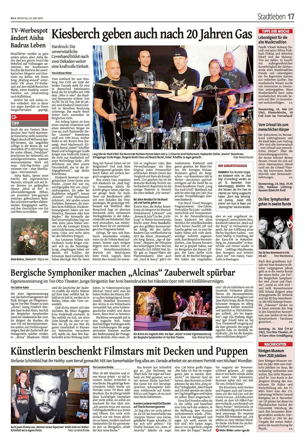 Remscheider General-Anzeiger [RGA] - KIESBERCH geben auch nach 20 Jahren Gas