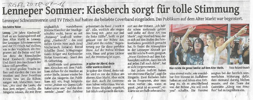 Remscheider General-Anzeiger [RGA] - Lenneper Sommer: KIESBERCH sorgt für tolle Stimmung