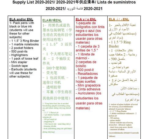 School Supply List 2021-2022