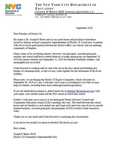 Interim Superintendent Letter September