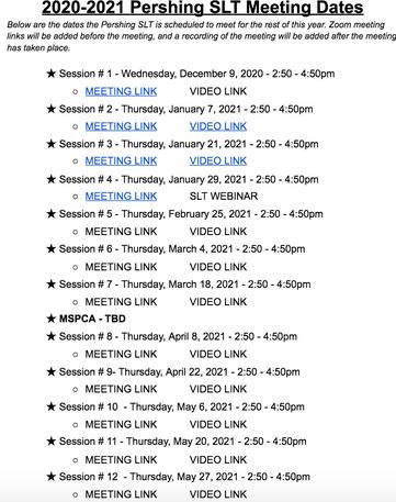 2020-2021 Pershing SLT Meeting Dates