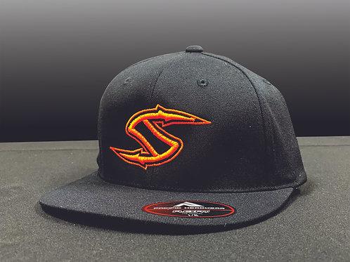 "BLACK Flex Fit 3D Puff Spearpoint ""S""hat"
