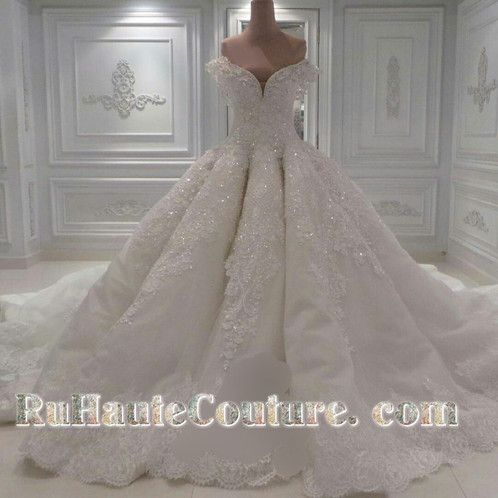 Royal Swarovski Crystals beaded Wedding Dress with Cathedral Train