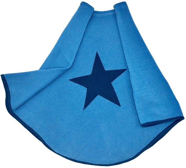 Classic Blue Fine Knit Star Poncho