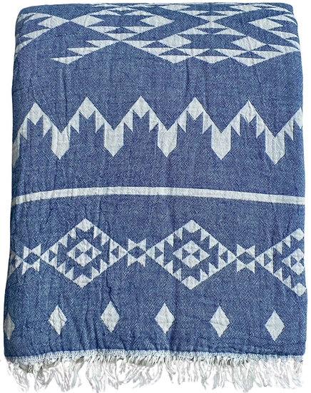 Dakota Denim Super Soft Cotton Fleece Lined Throw