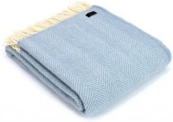 Baby Blue Welsh 100% Pure New Wool Blankets