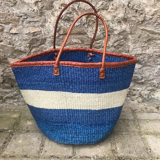Blue & White Fair Trade Shopping, Beach & Storage Basket
