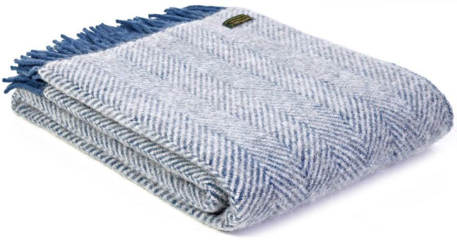 Herringbone Teal Welsh 100% Pure New Wool Blankets