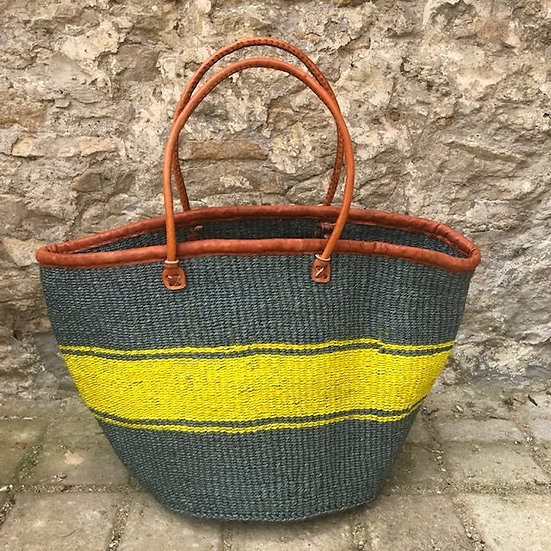 Grey & Yellow Fair Trade Shopping, Beach & Storage Basket