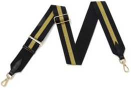 Black & Gold Sparkle Stripe Detachable Fabric Strap