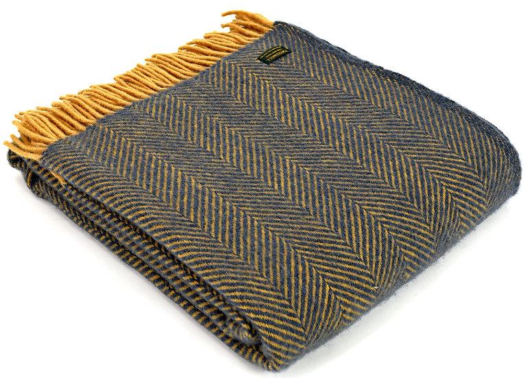 Navy & Mustard Welsh 100% Pure New Wool Blankets