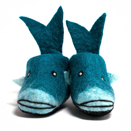 Nyangumi The Whale Handmade Felted Slippers