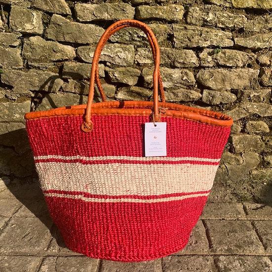 Raspberry & White Fair Trade Shopping, Beach &  Storage Basket