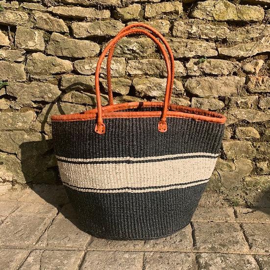 Charcoal & White Fair Trade Shopping, Beach & Storage Basket