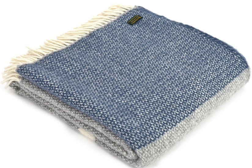 Slate Blue Welsh 100% Pure New Wool Blankets