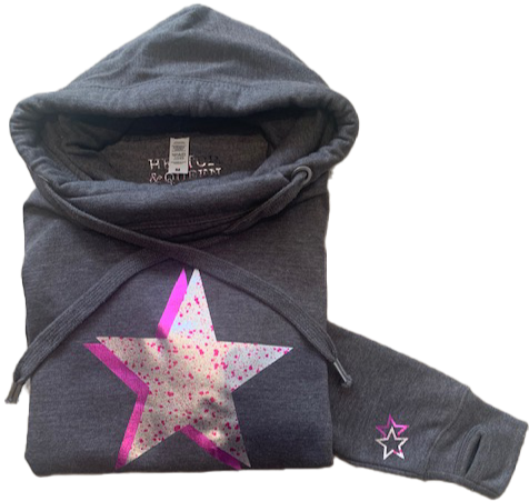 Super Soft Cowl Neck Silver Pink Star Hoody