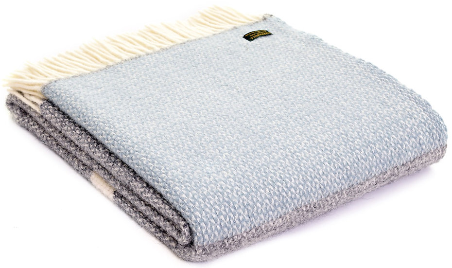 Duck Egg Blue Welsh 100% Pure New Wool Blankets