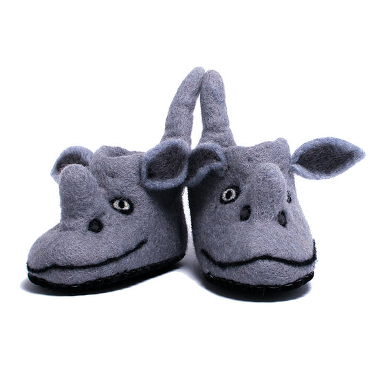 Faru The Rhino Handmade Felted Slippers