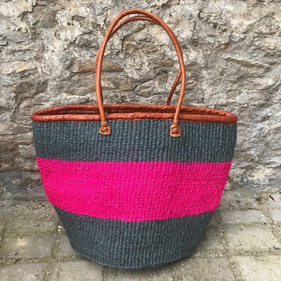 Grey & Pink Fair Trade Shopping, Beach & Storage Basket