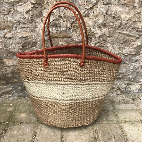 Beige & Cream Fair Trade Shopping, Beach & Storage Basket