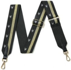 Black & Gold Military Star Detachable Fabric Strap