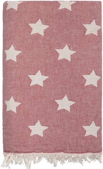 Red Star Super Soft Cotton Fleece Lined Throw