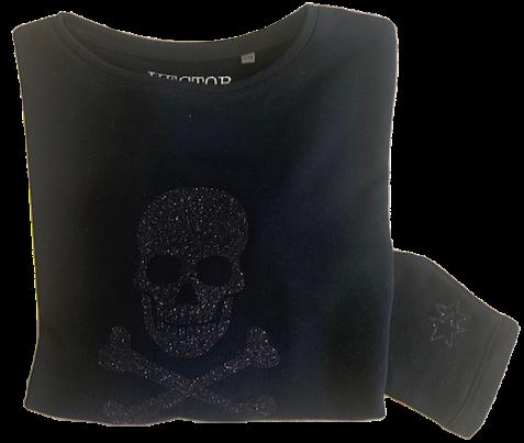 Super Soft, Long Sleeve Glitter Skull Top
