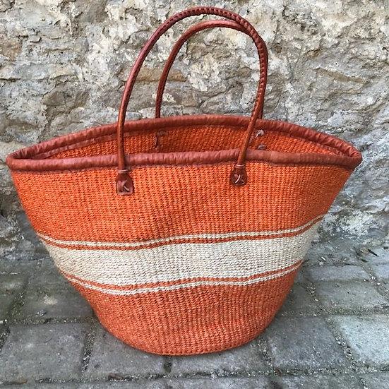 Orange & White Fair Trade Shopping, Beach & Storage Basket