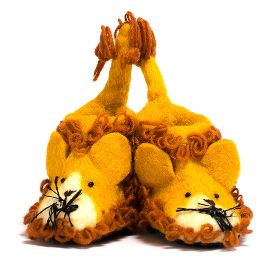 Simba The Lion Handmade Felted Slippers