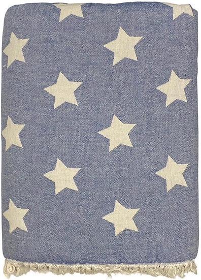 Navy Star Super Soft Cotton Fleece Lined Throw