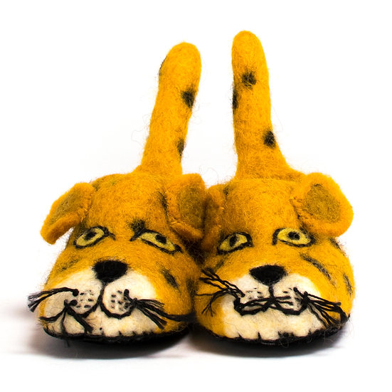 Chui The Leopard Handmade Felted Slippers