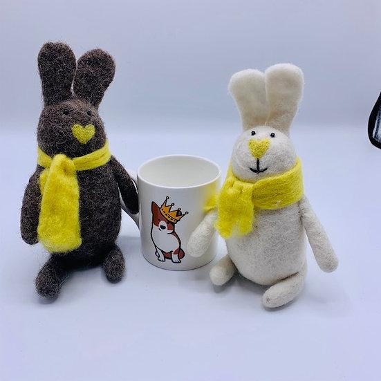 2 Felted Rabbits & Mug Gift Bundle