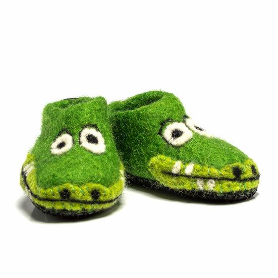 Mamba The Crocodile Handmade Felted Slippers