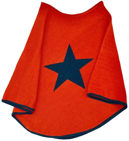 Burnt Orange Fine Knit Star Poncho