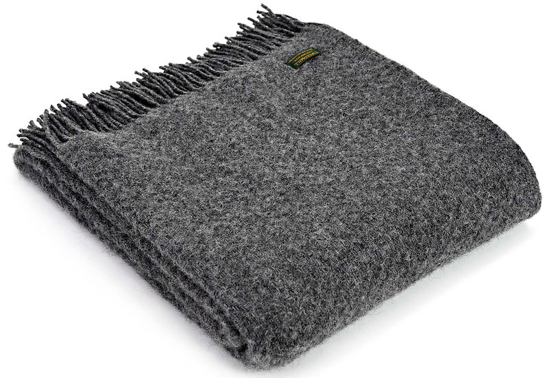 Charcoal Grey Welsh 100% Pure New Wool Blankets